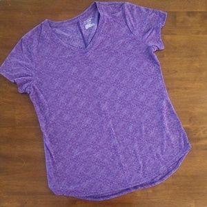 Tek Gear DryTEK Purple Short Sleeve V-neck T-shirt